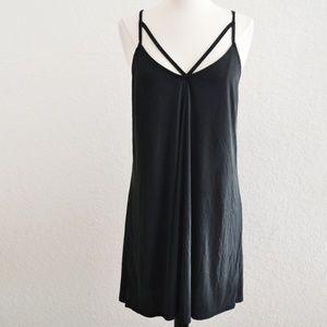 Black V Strap Collar Tank Dress Size M